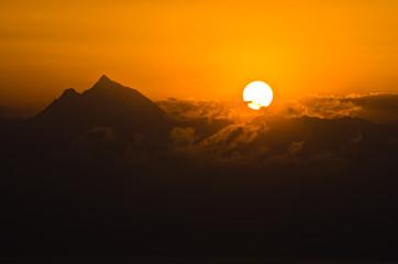 Sunrise at holy mountain Athos in Chalkidiki
