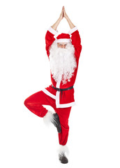 Santa Claus doing yoga exercise