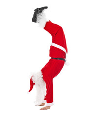 Santa Claus standing head over feet