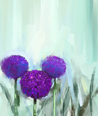 Purple onion flower .Oil painting