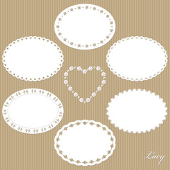 Set of cute lacy oval doilies.