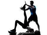 coach man woman exercising abdominals with bosu silhouette