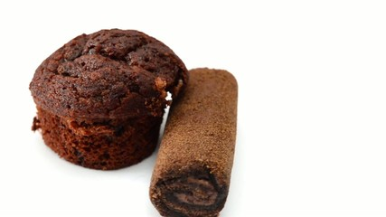muffin chocolate rotating on white background