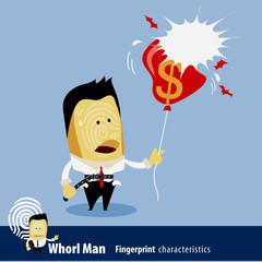 Vector of Fingerprint Man Characteristics Series. Business Man w