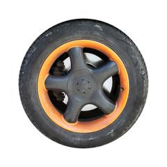 Used automotive wheel with orange black disc isolated on white