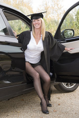 Mature university student with her car