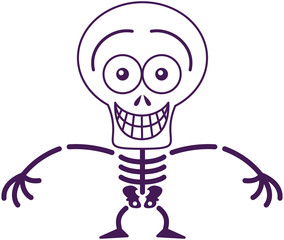 Funny Halloween skeleton grinning while feeling embarrassed
