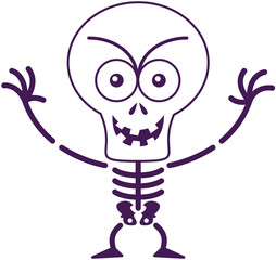 Mischievous Halloween skeleton posing and smiling maliciously