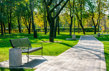 bench in a quiet city park