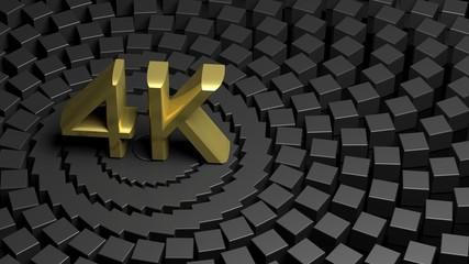 Golden 4K symbol on dark abstract background