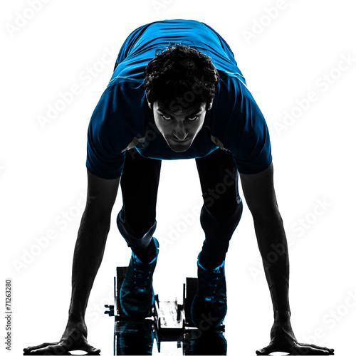 Papiers peints Jogging man runner sprinter on starting blocks silhouette