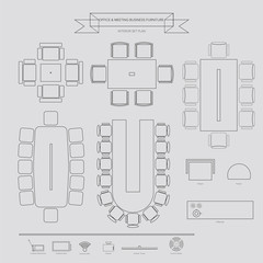 Office and Conferance Business outline Furniture Icon