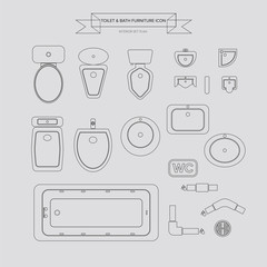Toilet and Bath Outline Furniture Icon