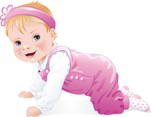 Cute baby girl smiling,crawling, isolated. Vector