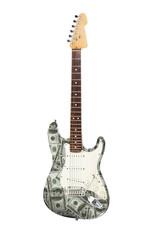 E-Gitarre mit 100-Dollar Geldscheinen