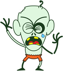 Cute Halloween zombie crying when feeling distressed