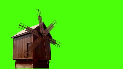 Old wooden windmill isolated on green (Computer generated)