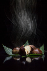 Chestnuts smoking in the dark