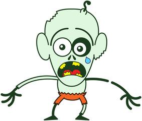 Cute Halloween zombie feeling scared