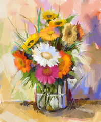 Glass vase with bouquet gerbera flowers.Oil painting
