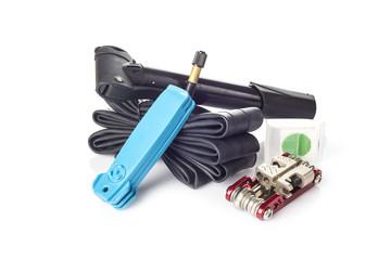 Kit de herramientas para reparación pinchazos rueda bicicleta