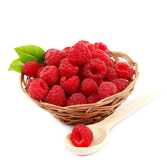 Raspberries in a basket on a white background.