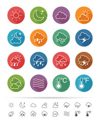 Simple line style : Weather icons set