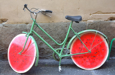 bikecycle  wheels in the form of water-melons