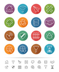Simple line style : Internet & Communication icons set