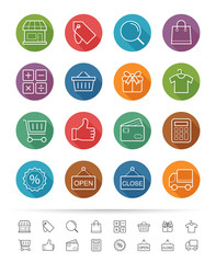 Simple line style : Shopping & Market icons set