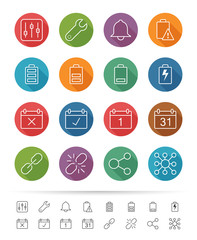 Simple line style : Application & Mobile icons set