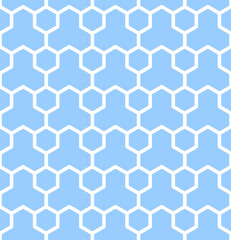 Seamless geometric texture. Blue hexagons pattern.