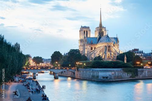 Foto op Plexiglas Bedehuis Notre Dame de Paris at dusk, people on docks