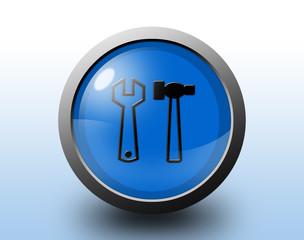 Tools icon. Circular glossy button.
