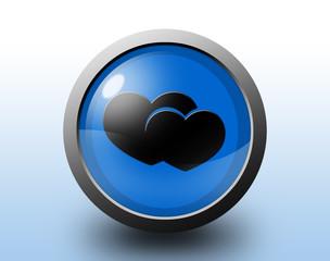 Heart icon. Circular glossy button.