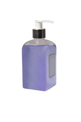 bottle with purple liquid isolated on white background
