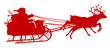 Rentierschlitten, Weihnachtsmann, Schlitten, Silhouette, rot, 2D