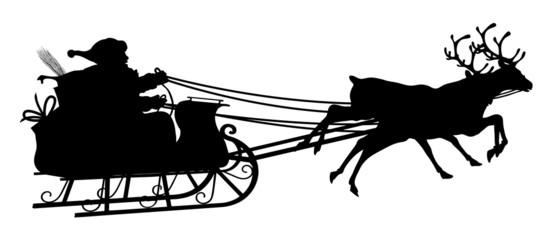 Rentierschlitten, Weihnachtsmann, Schlitten, Silhouette, schwarz