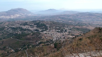 Bird's-eye view of Sicily countryside from Mount Erice.