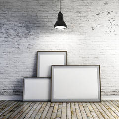3d blank frame s and vintage brick wall