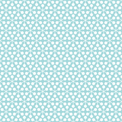 Retro Seamless Pattern Snowflakes/Flowers Turquoise
