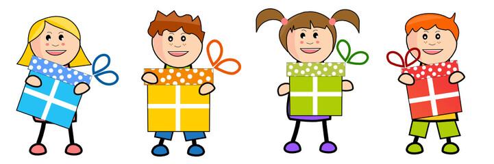 Brochette d'enfants offrant des cadeaux