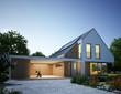 Leinwanddruck Bild - Haus Zinkdach mit Carport Abend