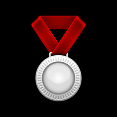 Silver Medal with Red Ribbon. Vector