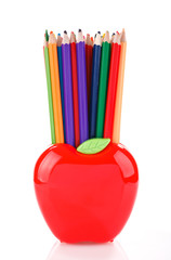 color pencils in apple shaped stand