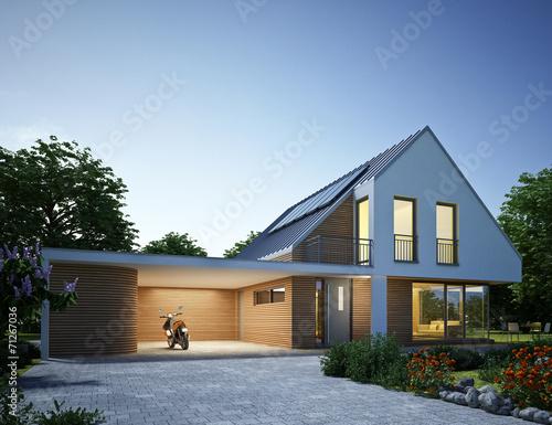 Leinwanddruck Bild Haus Zinkdach mit Carport Abend