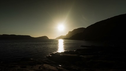1080p, Epic and dramatic sunset time lapse of Rutledalen area in