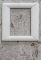 White Wooden Frame On Old Wall Background