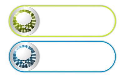 two vector buttons with grid and speech bubble