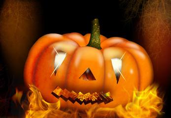 Halloween,  Kürbis mit Flammen
